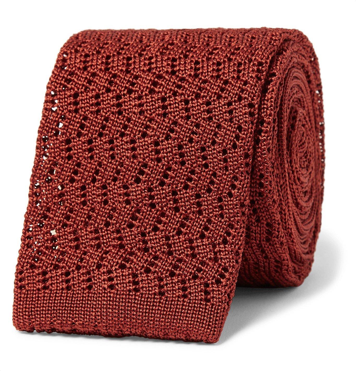 Photo: Rubinacci - 6cm Knitted Silk Tie - Red