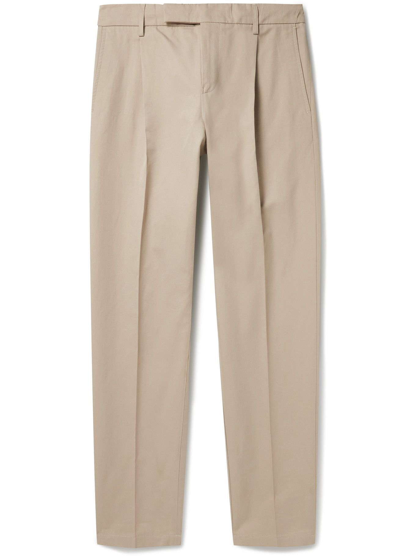 DUNHILL - Tapered Pleated Cotton and Mulberry Silk-Blend Trousers - Neutrals