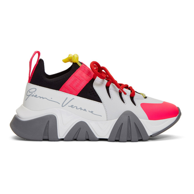 Versace White and Pink Squalo Sneakers