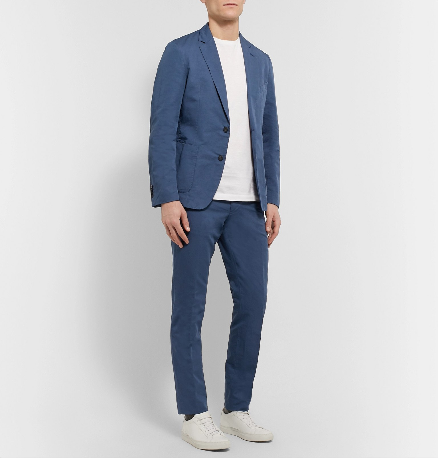 Officine Generale - Paul Slim-Fit Belted Garment-Dyed Cotton and Linen-Blend Suit Trousers - Blue
