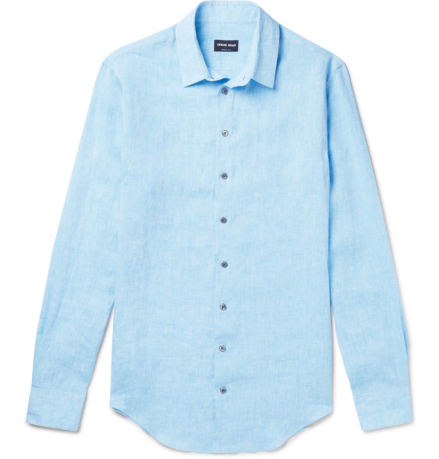 Giorgio Armani - Mélange Linen Shirt - Blue