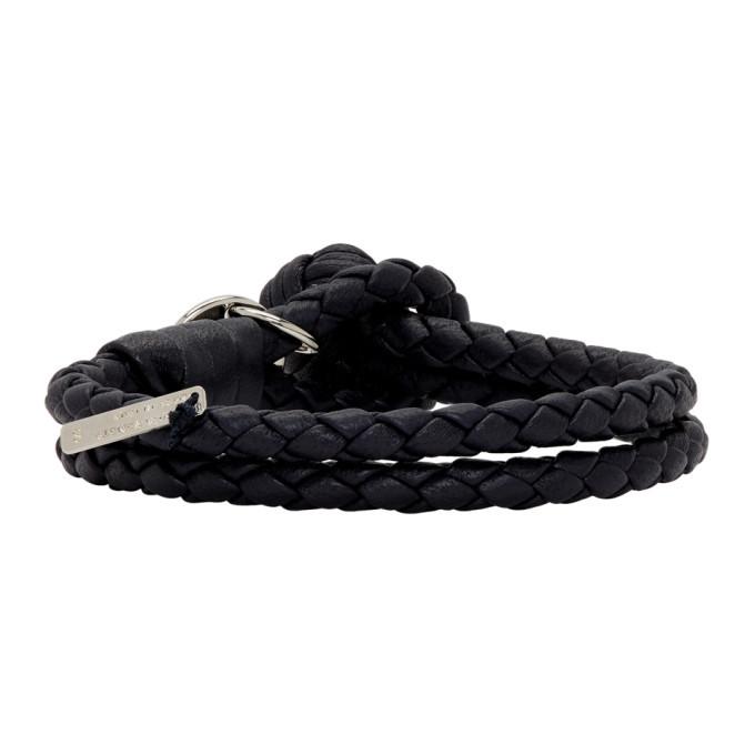 Bottega Veneta Navy Intrecciato Knot Bracelet
