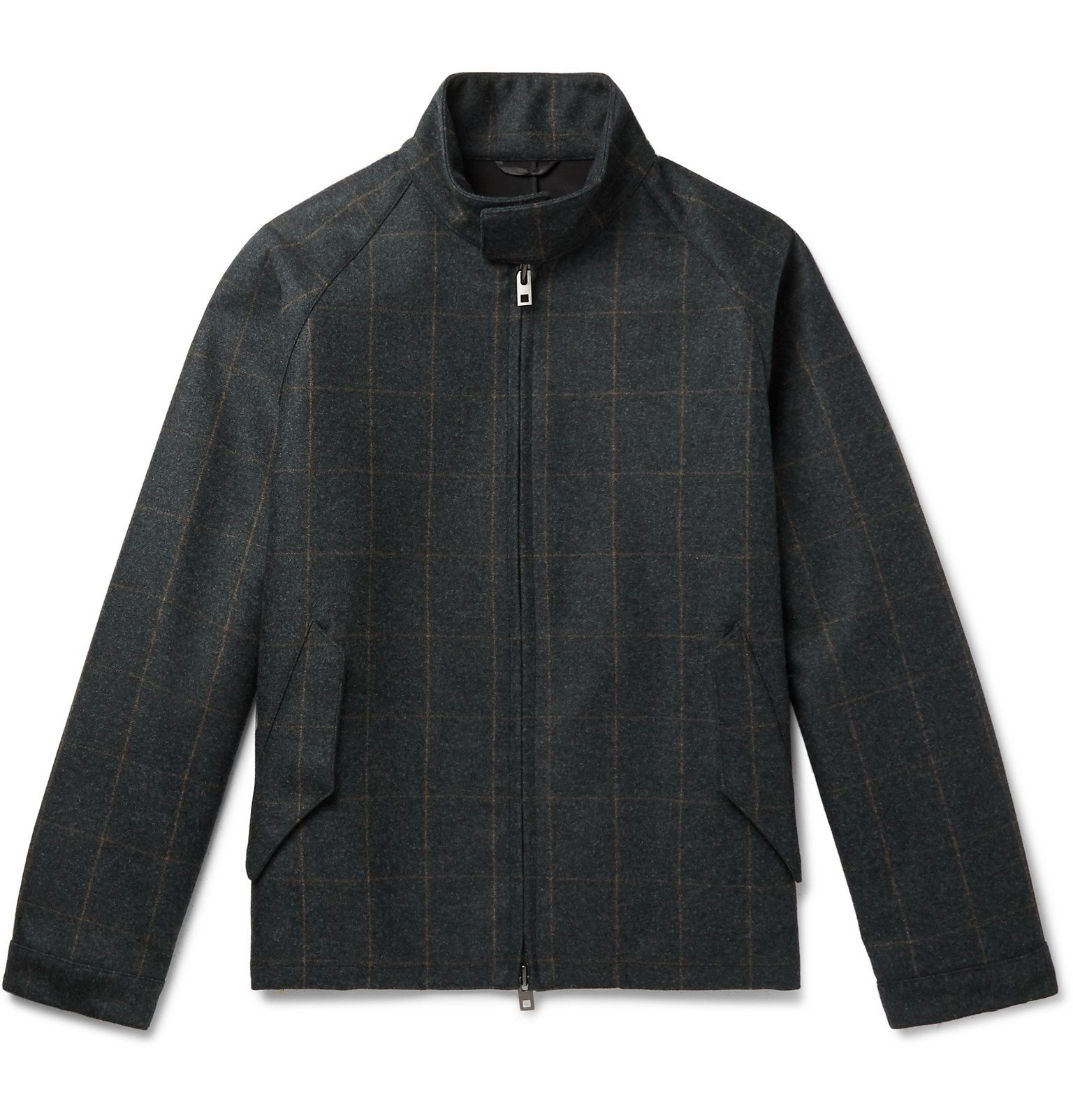 Photo: Camoshita - Vitale Barberis Canonico Checked Wool Bomber Jacket - Gray
