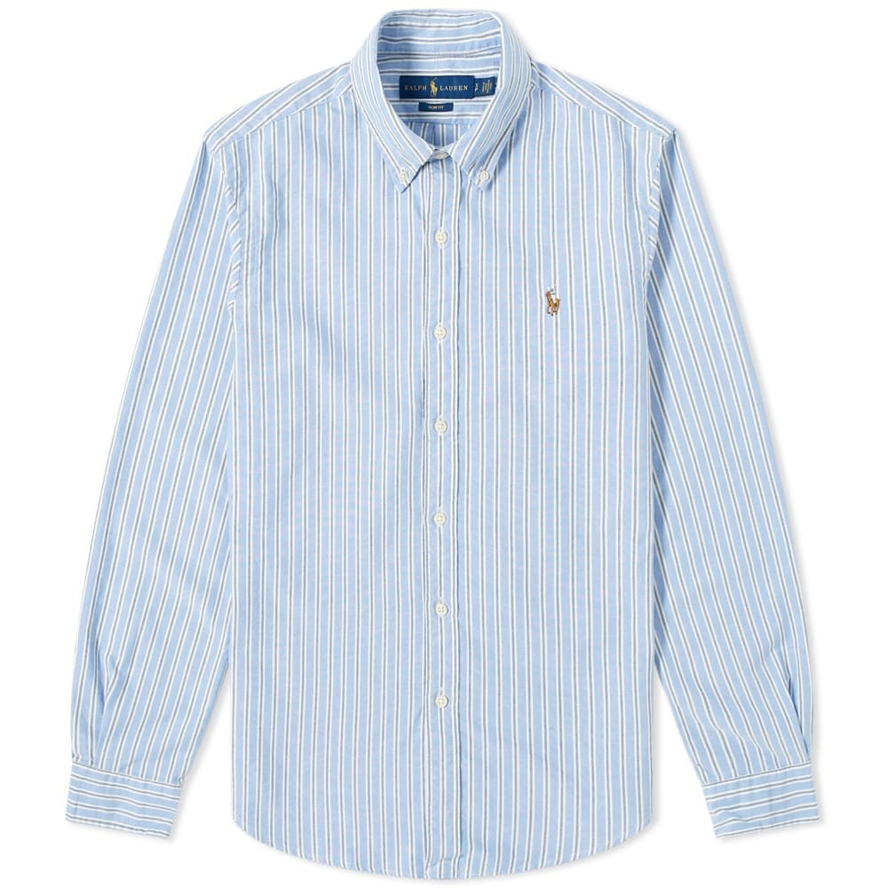 Photo: Polo Ralph Lauren Slim Fit Multi Stripe Button Down Oxford Shirt