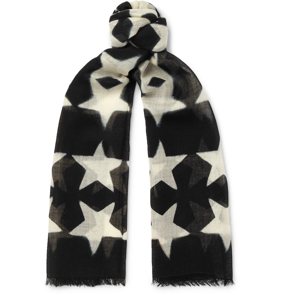 Photo: Paul Smith - Fringed Star-Print Wool-Gauze Scarf - Black