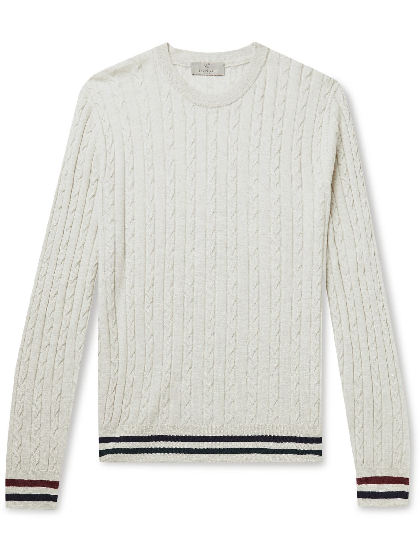 Photo: CANALI - Striped Cable-Knit Wool Sweater - Gray - IT 52