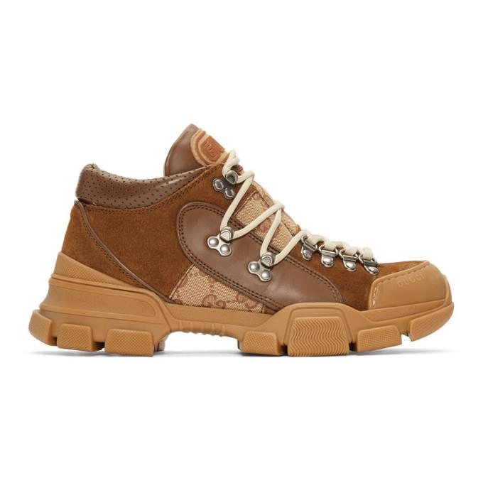 Photo: Gucci Brown Flashtrek GG Sneakers