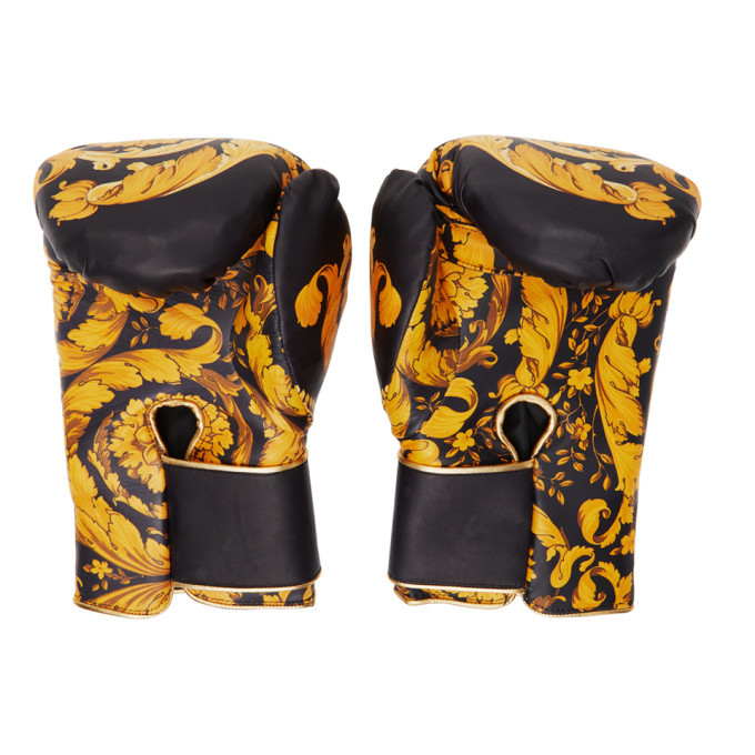 Versace Black Barocco Boxing Gloves