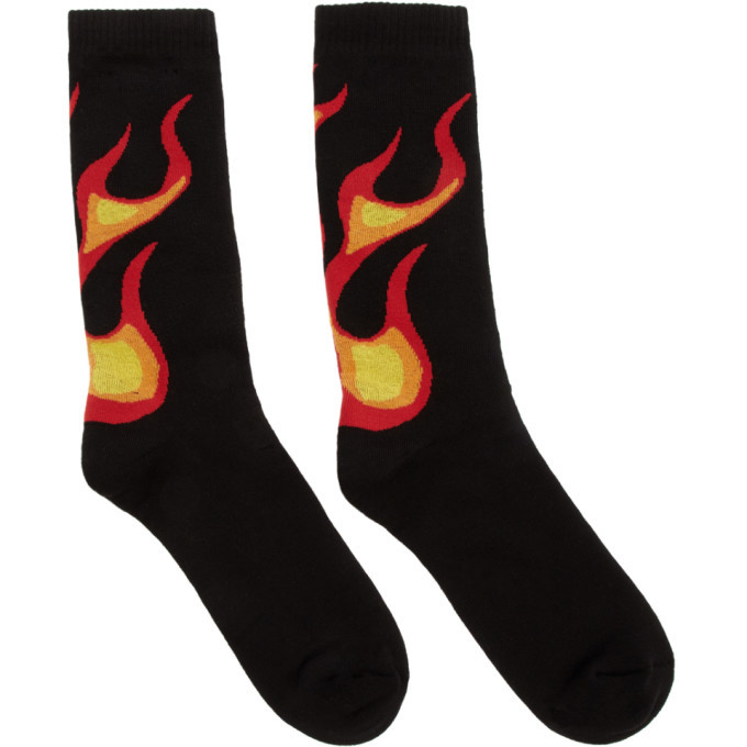 Photo: Palm Angels Black and Multicolor Flame Socks