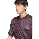 Martine Rose Burgundy and Blue Ruched Football T-Shirt