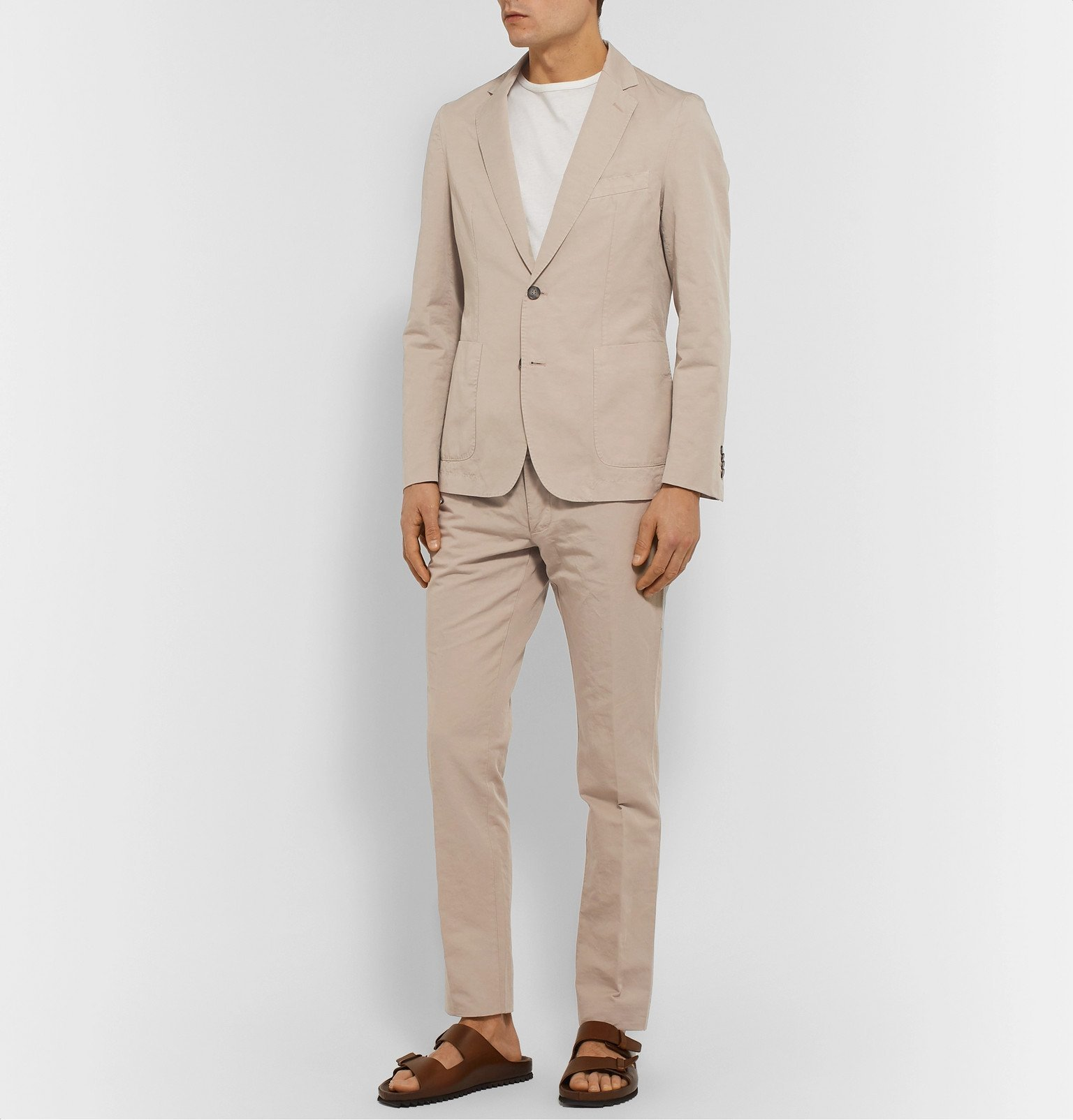 Officine Generale - Slim-Fit Garment-Dyed Cotton and Linen-Blend Suit Jacket - Neutrals