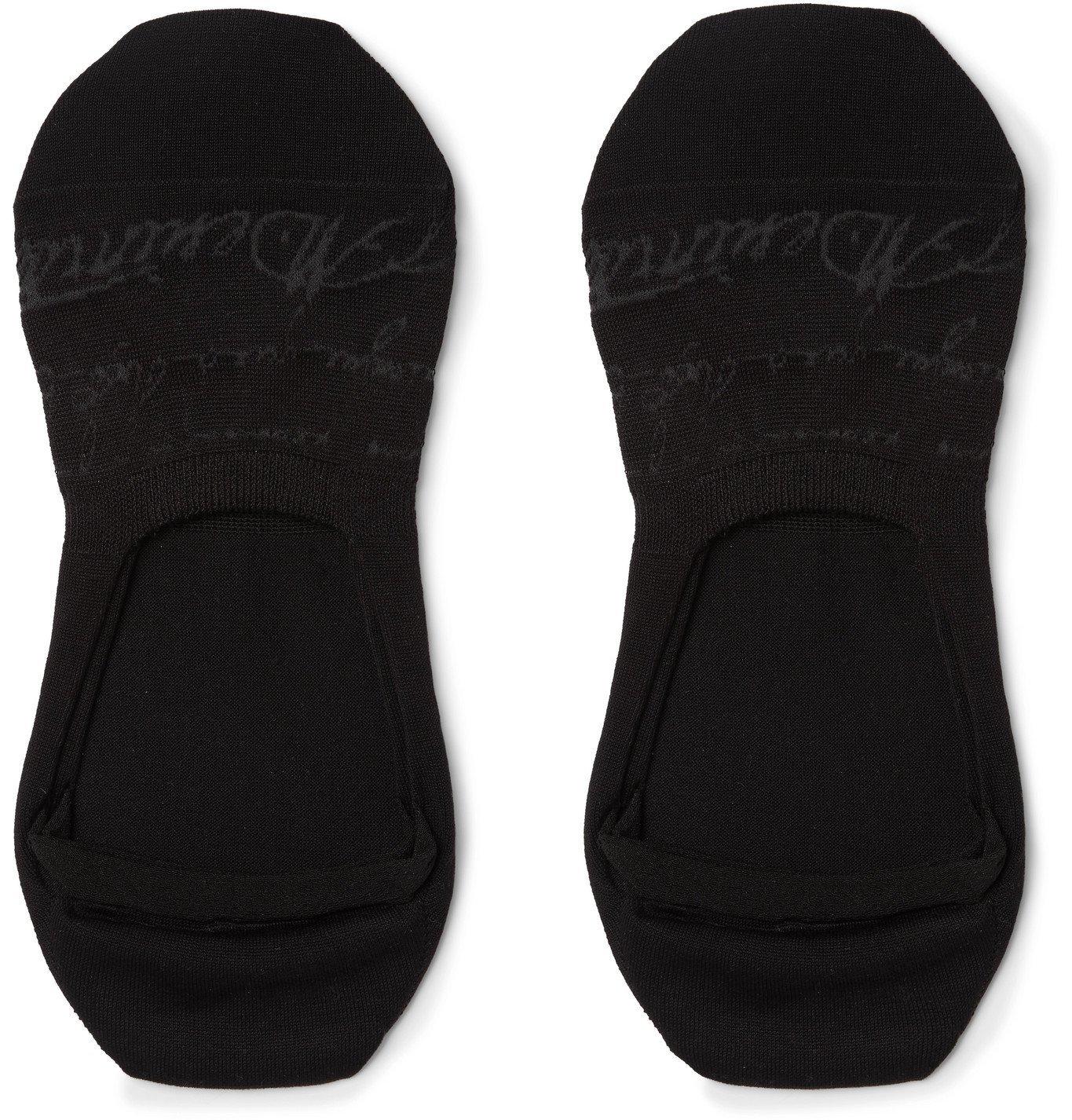 Photo: Berluti - Scritto Logo-Intarsia Stretch Cotton-Blend No-Show Socks - Black