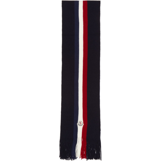 Photo: Moncler Navy Flag Stripes Wool Scarf