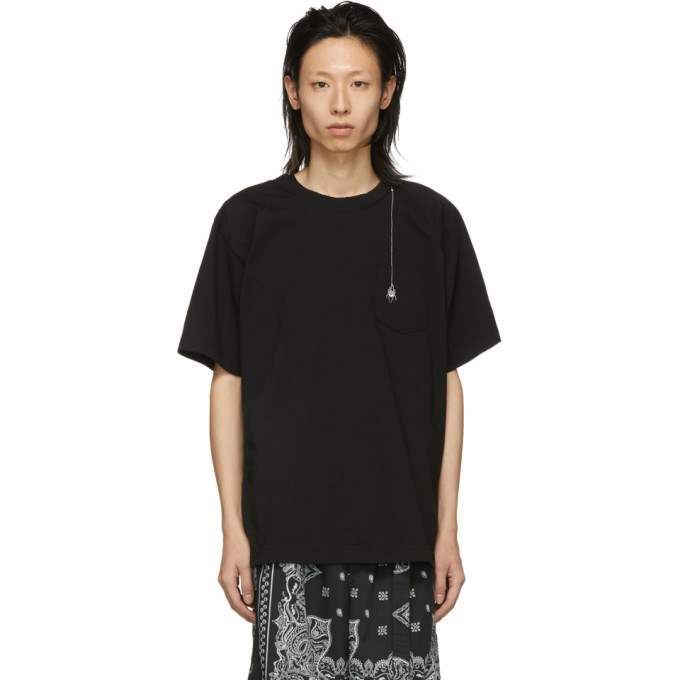 Sacai Black Dr. Woo Edition Embroidered Spider T-Shirt