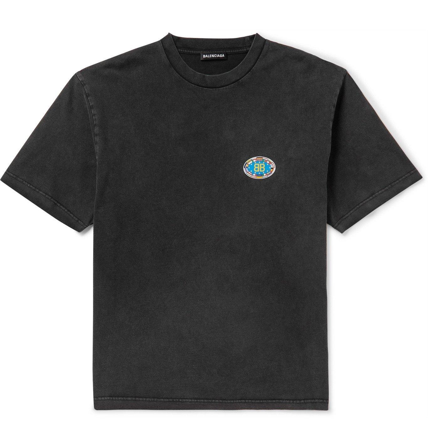 Photo: Balenciaga - Printed Washed Cotton-Jersey T-Shirt - Gray