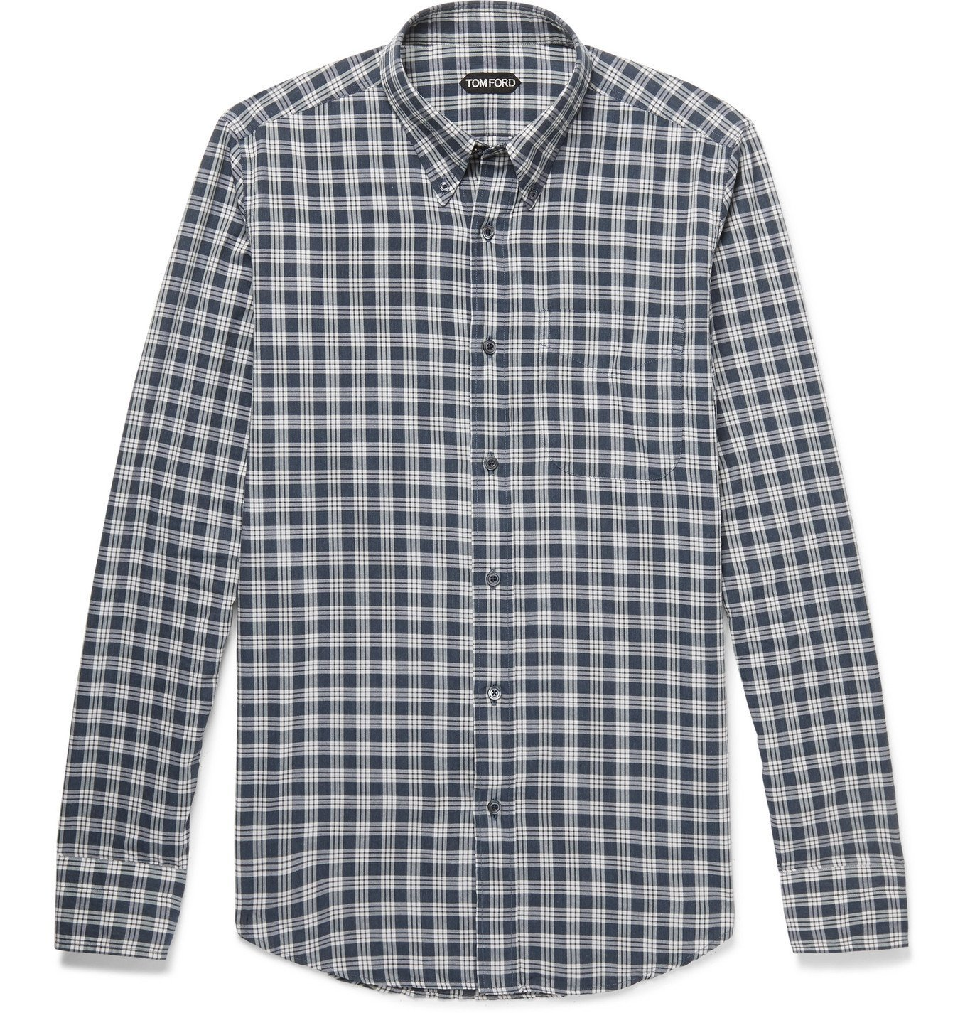 Photo: TOM FORD - Rady Slim-Fit Button-Down Collar Checked Cotton-Voile Shirt - Blue