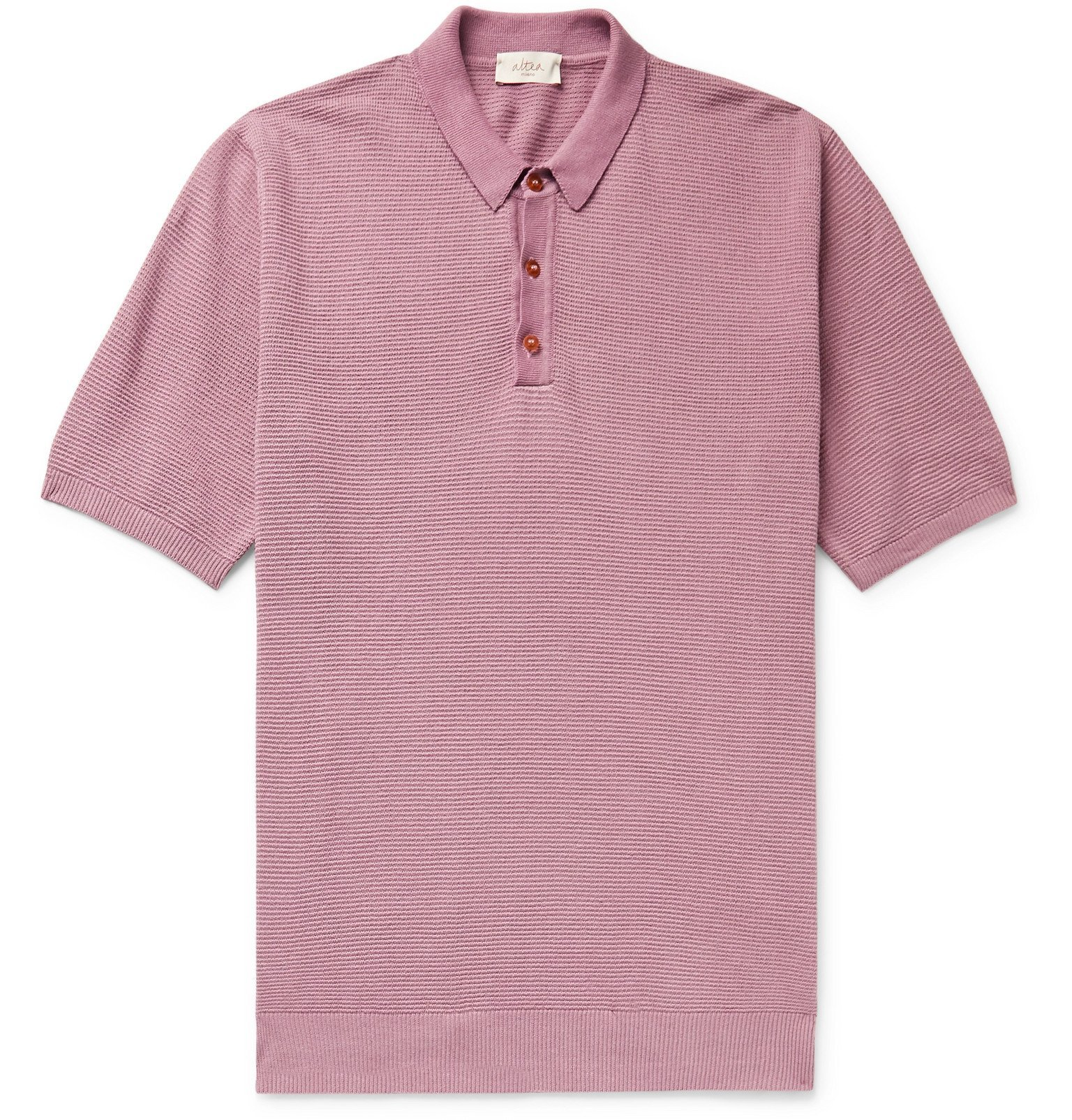 Photo: Altea - Textured Linen and Cotton-Blend Polo Shirt - Purple