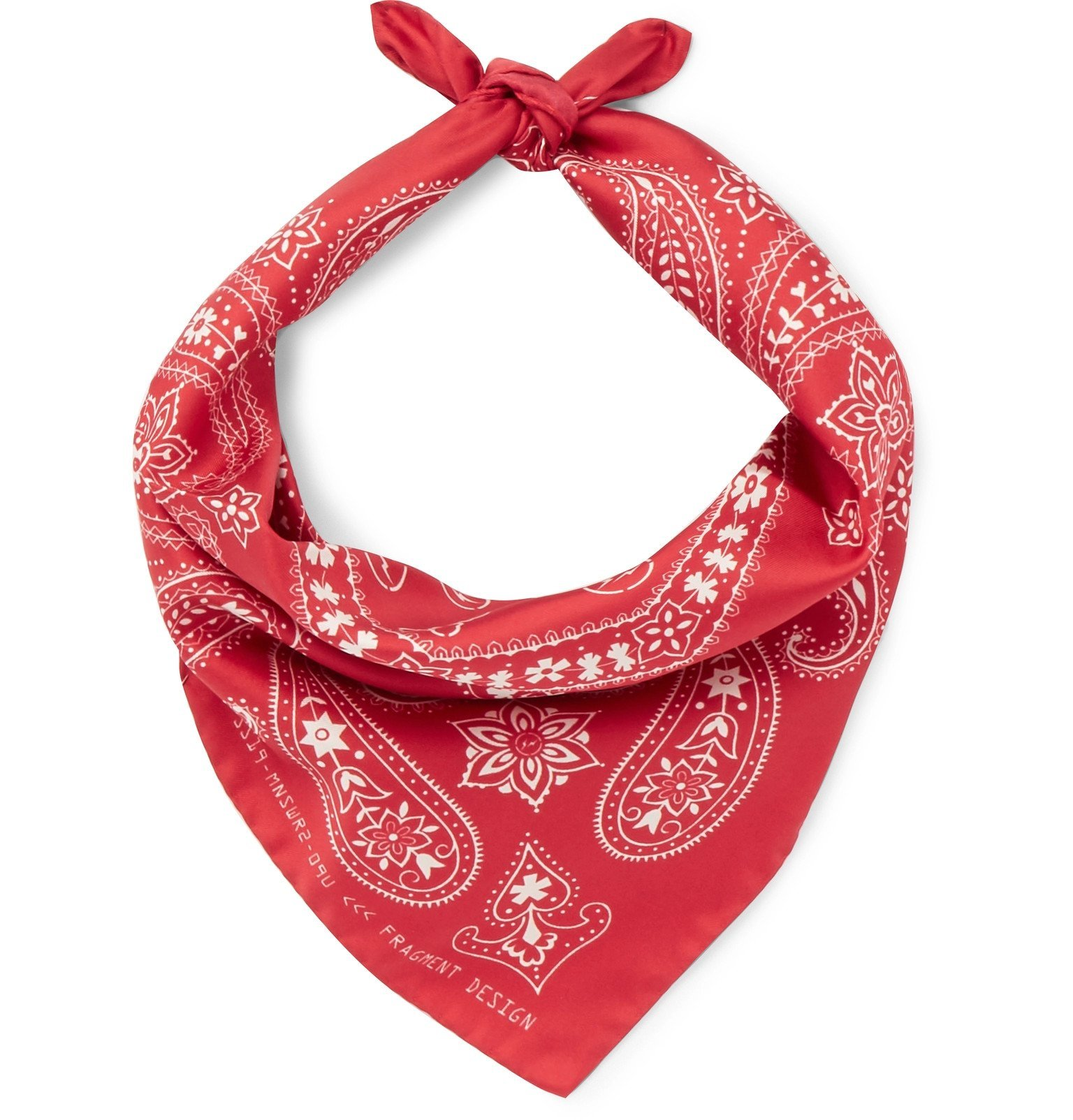 Photo: Moncler Genius - 7 Moncler Fragment Printed Silk-Twill Bandana - Red