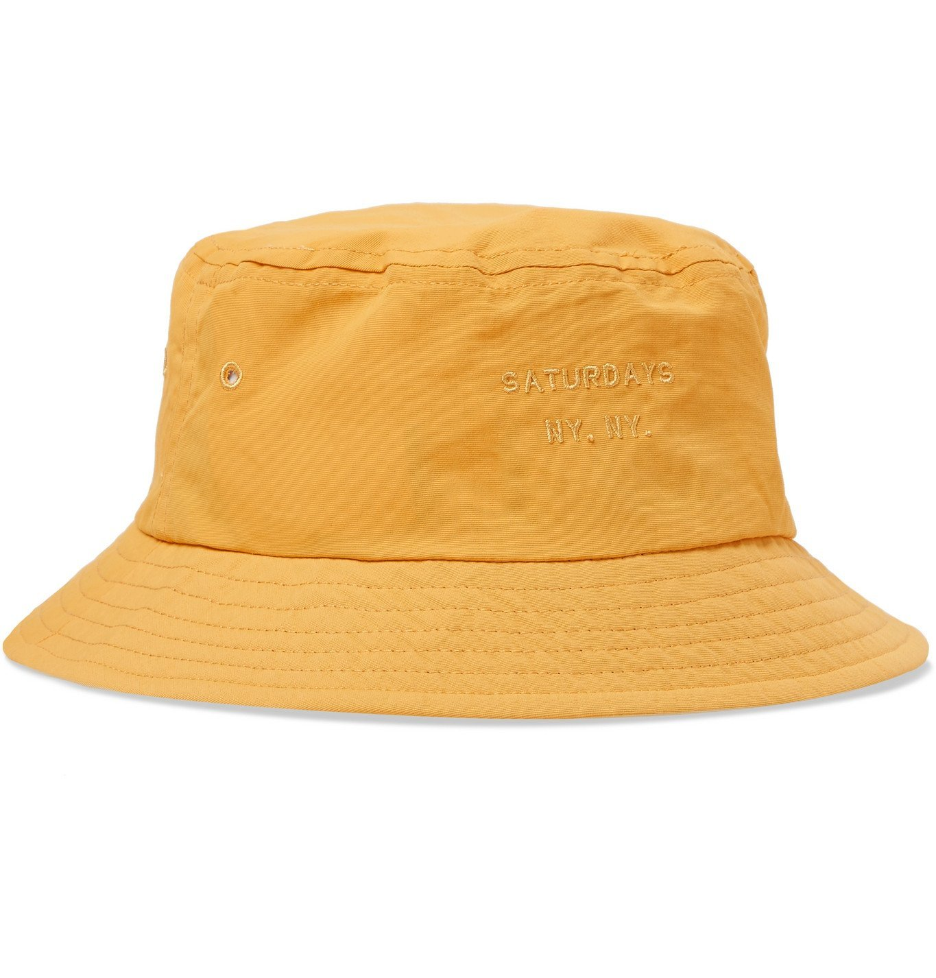 Photo: Saturdays NYC - Logo-Embroidered Twill Bucket Hat - Yellow
