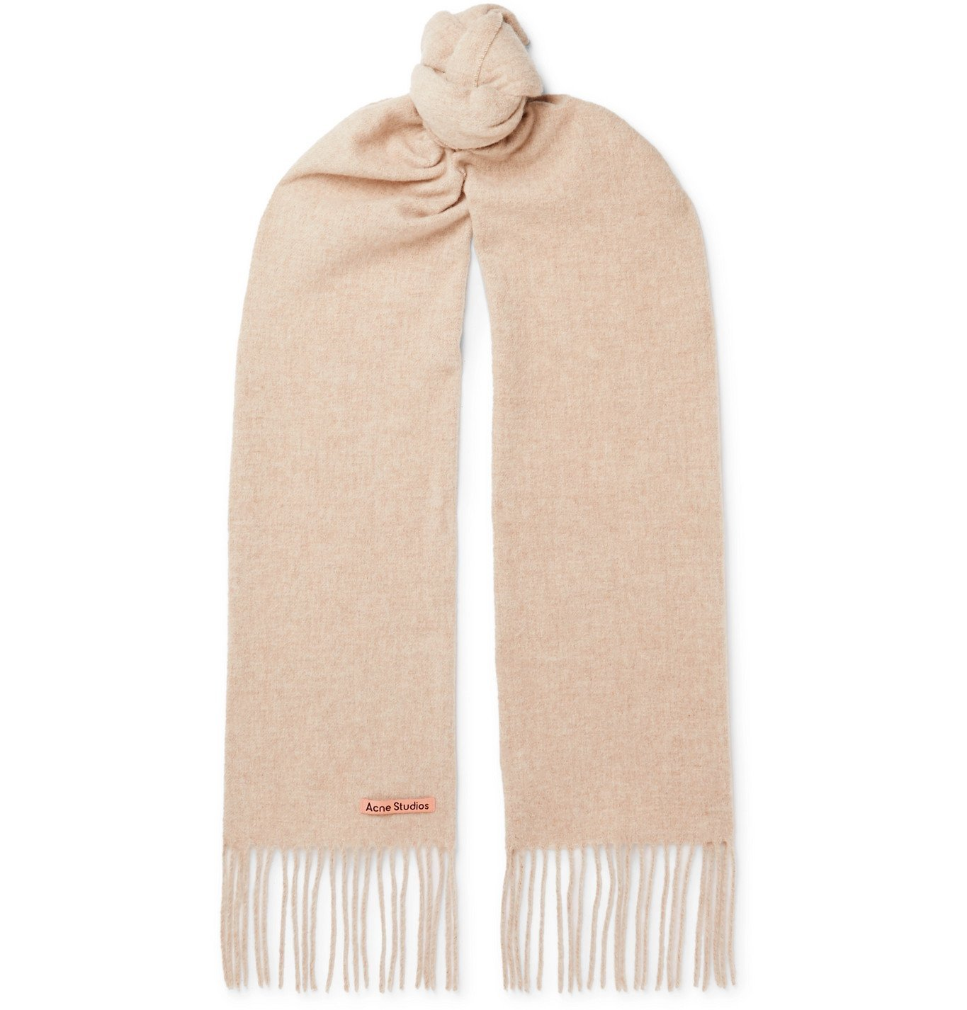Photo: Acne Studios - Canada Skinny Fringed Mélange Wool Scarf - Neutrals