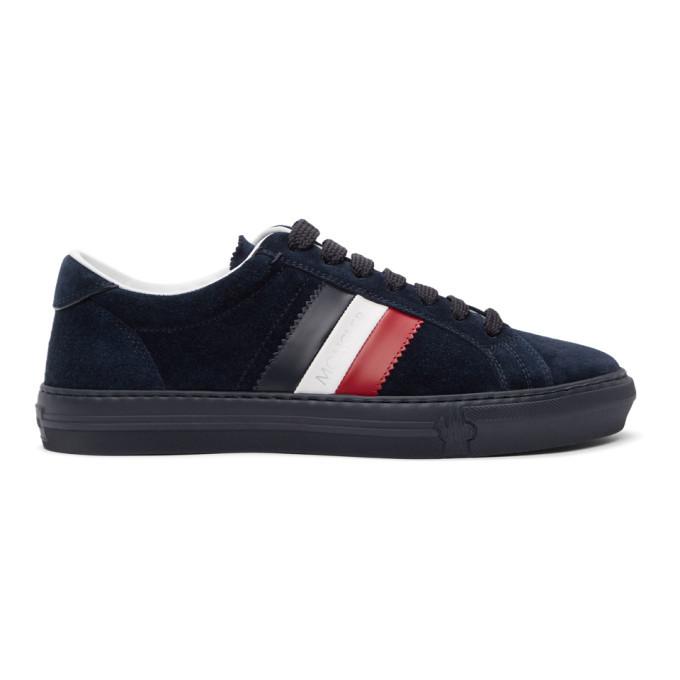 Photo: Moncler Navy Suede New Monaco Sneakers