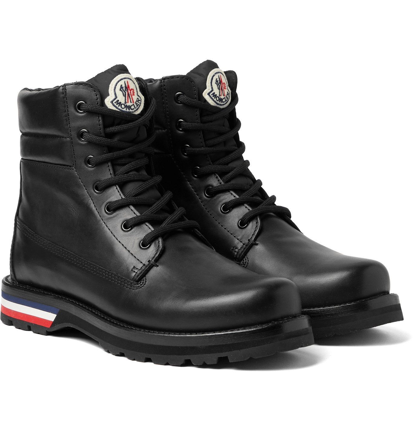 Photo: Moncler - Vancouver Striped Leather Hiking Boots - Black