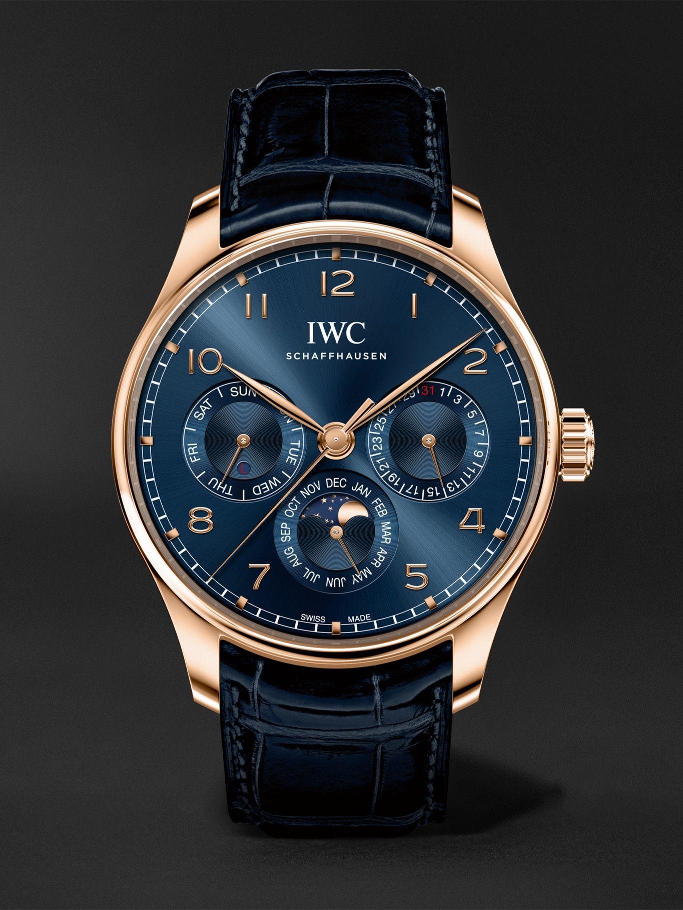 Photo: IWC Schaffhausen - Portugieser Perpetual Calendar Boutique Edition Automatic 42.4mm 18-Karat Red Gold and Alligator Watch, Ref. No. IW344205