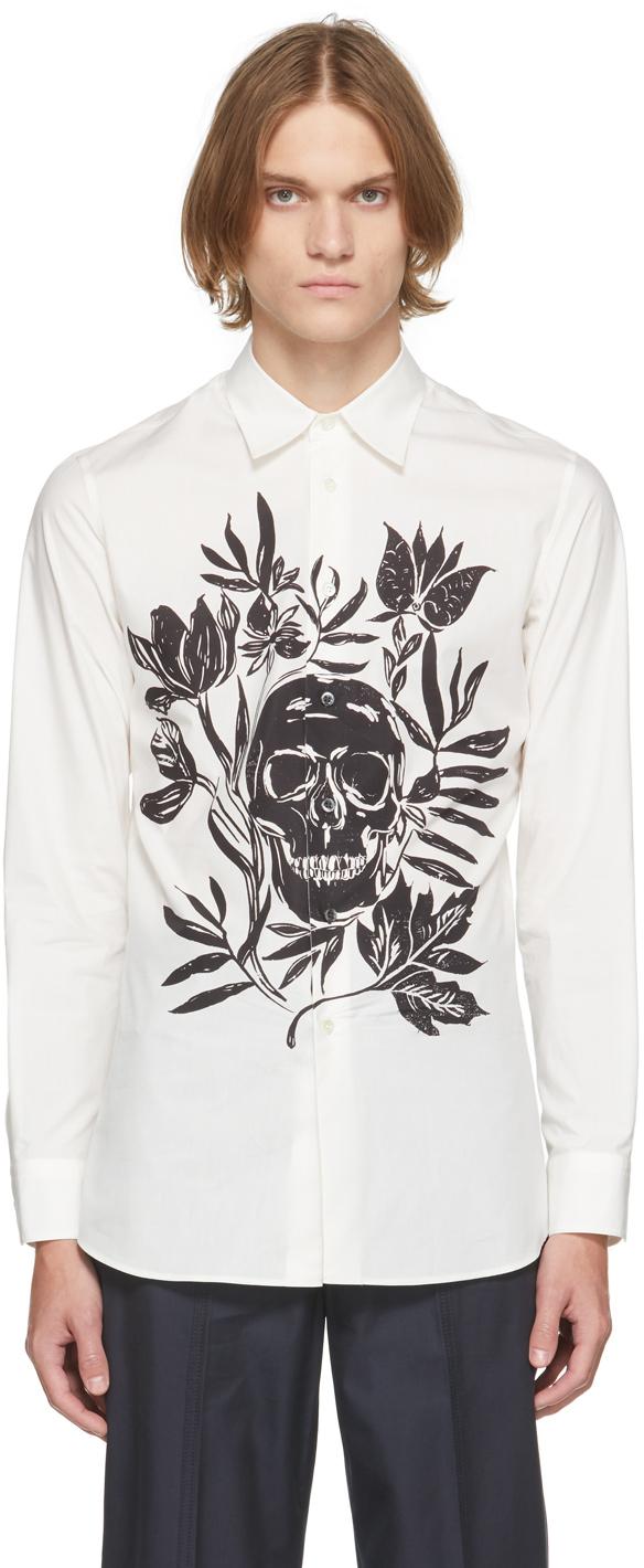 Photo: Alexander McQueen White Poplin Skull Leaf Print Dropped Shoulder Shirt