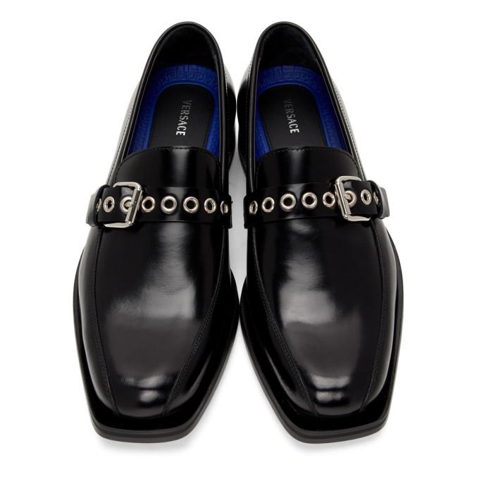 Versace Black Buckle Loafers