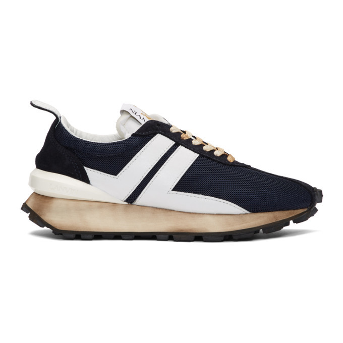 Photo: Lanvin Navy and White Running Sneakers