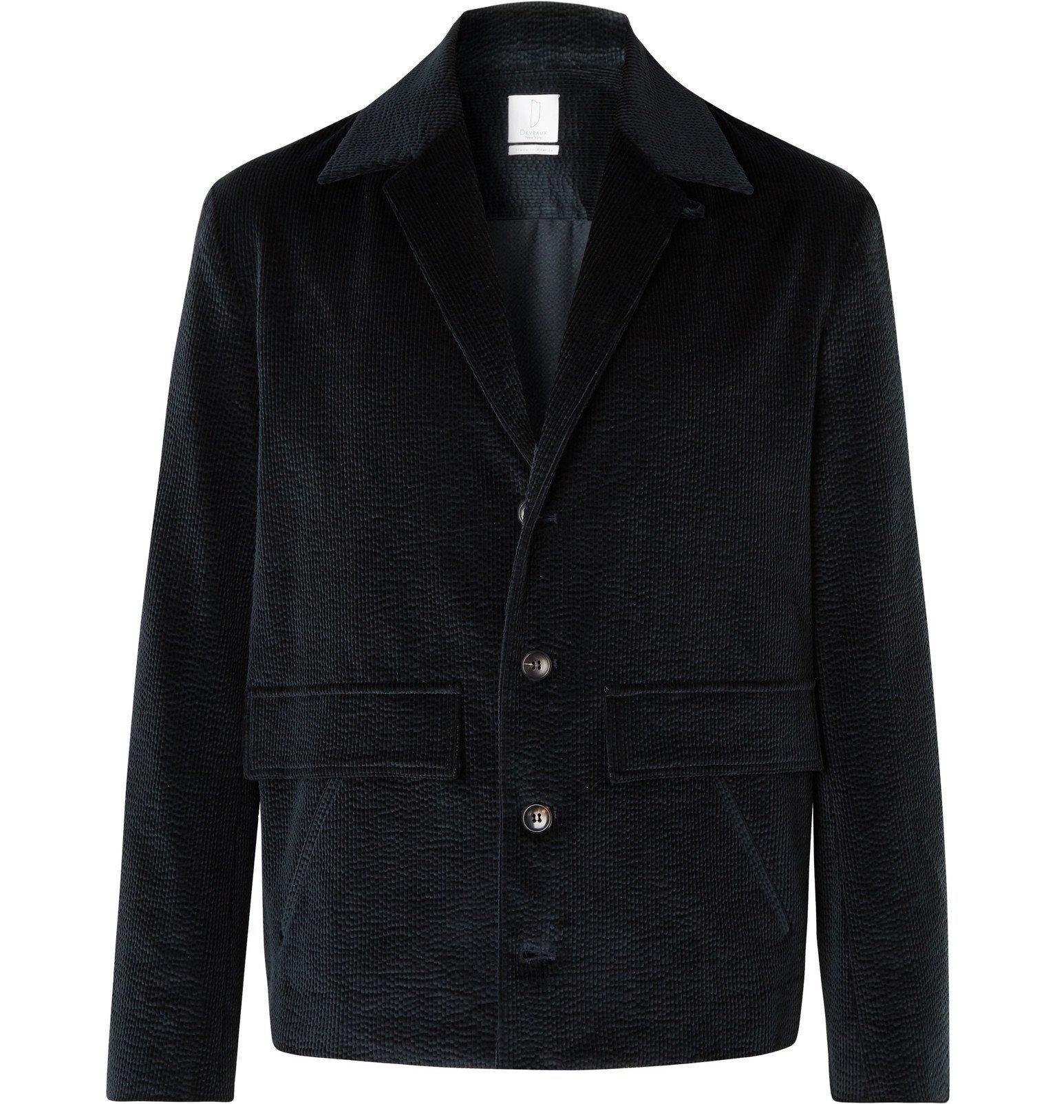 Photo: Deveaux - Teal Unstructured Stretch-Cotton Corduroy Suit Jacket - Blue