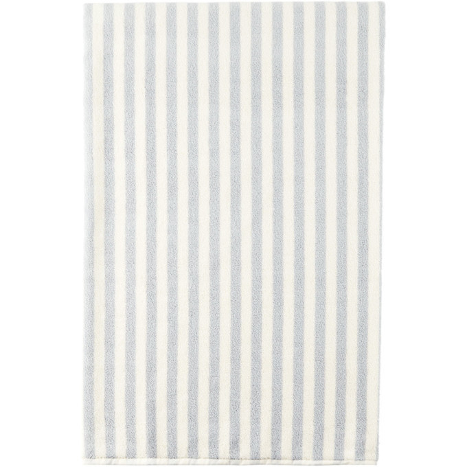 Photo: Tekla SSENSE Exclusive Off-White and Blue Stripe Bath Sheet Towel