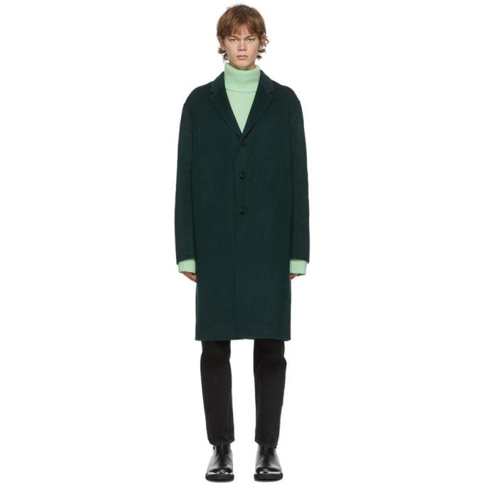 Acne Studios Green Wool Single-Breasted Coat