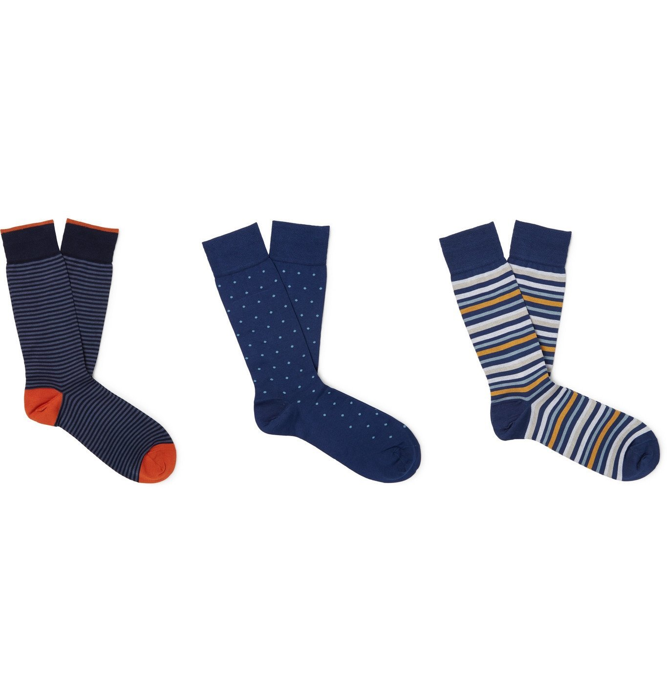 Photo: Marcoliani - Three-Pack Ribbed Cotton-Blend Socks - Multi