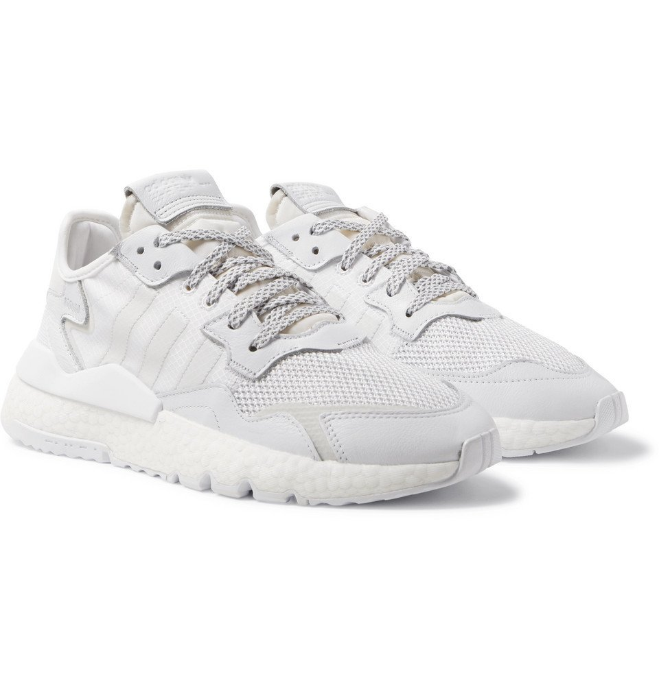 Photo: adidas Originals - Nite Jogger Suede and Rubber-Trimmed Mesh and Ripstop Sneakers - White
