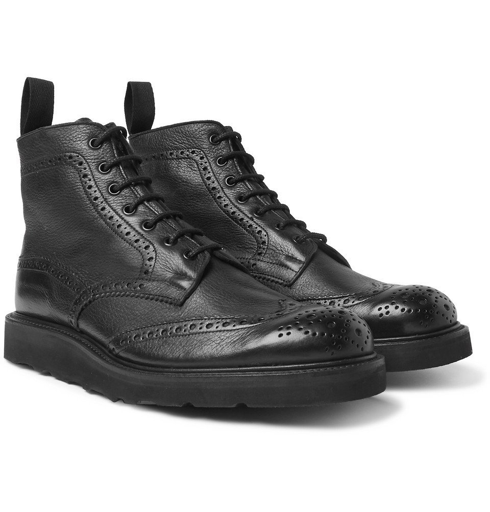 Photo: Tricker's - Stow Full-Grain Leather Brogue Boots - Black