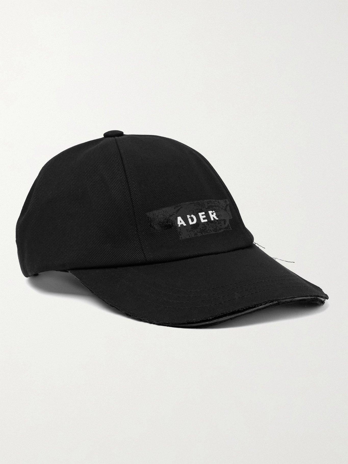 Photo: Ader Error - Distressed Logo-Print Cotton-Twill Baseball Cap - Black