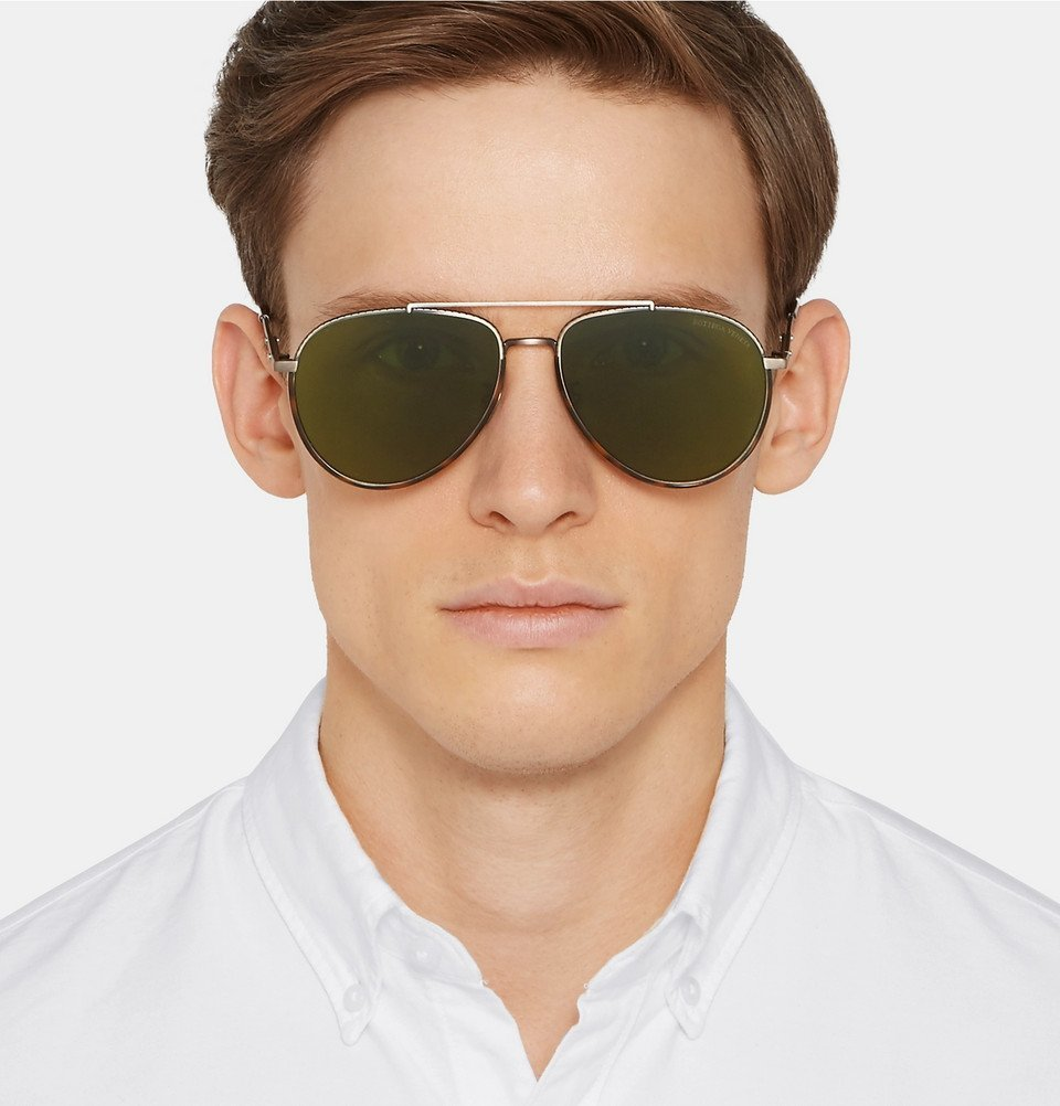 Bottega Veneta - Aviator-Style Tortoiseshell Acetate and Silver-Tone Sunglasses - Men - Brown