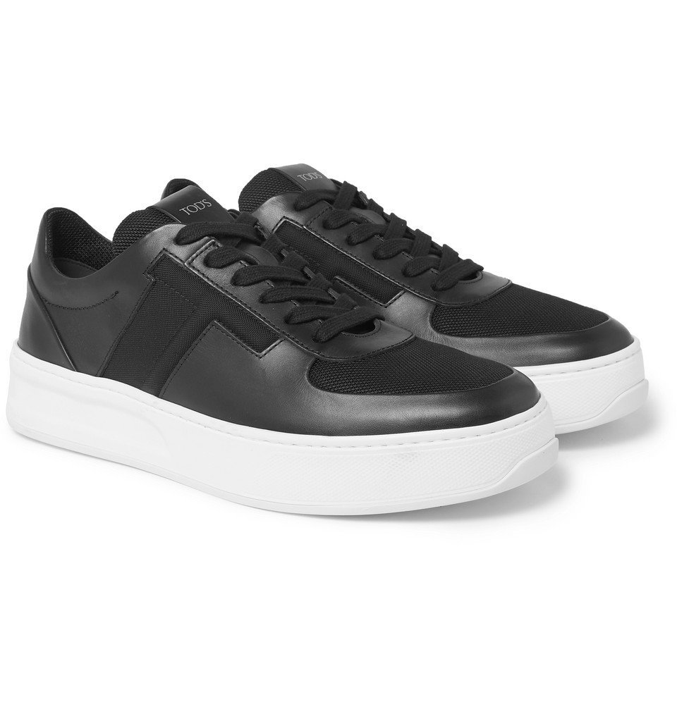 Photo: Tod's - Cassetta Leather and Mesh Sneakers - Black