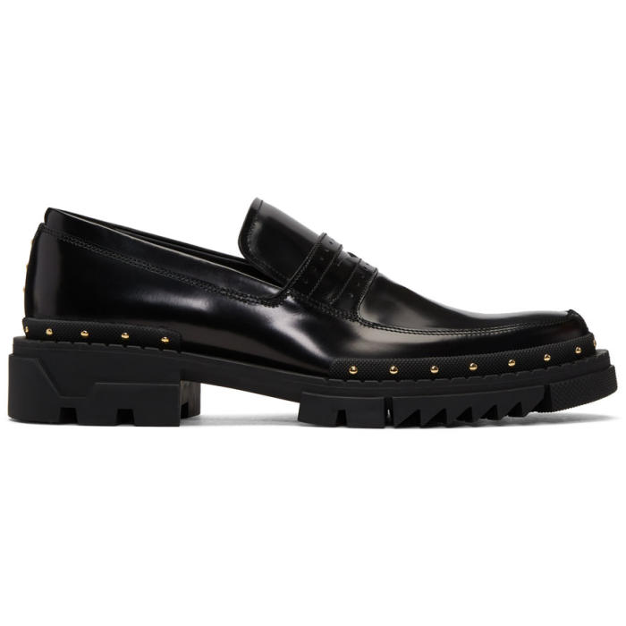 Photo: Versace Black Studded Loafers
