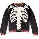 KAPITAL - Embroidered Padded Cotton-Velvet Bomber Jacket - Black