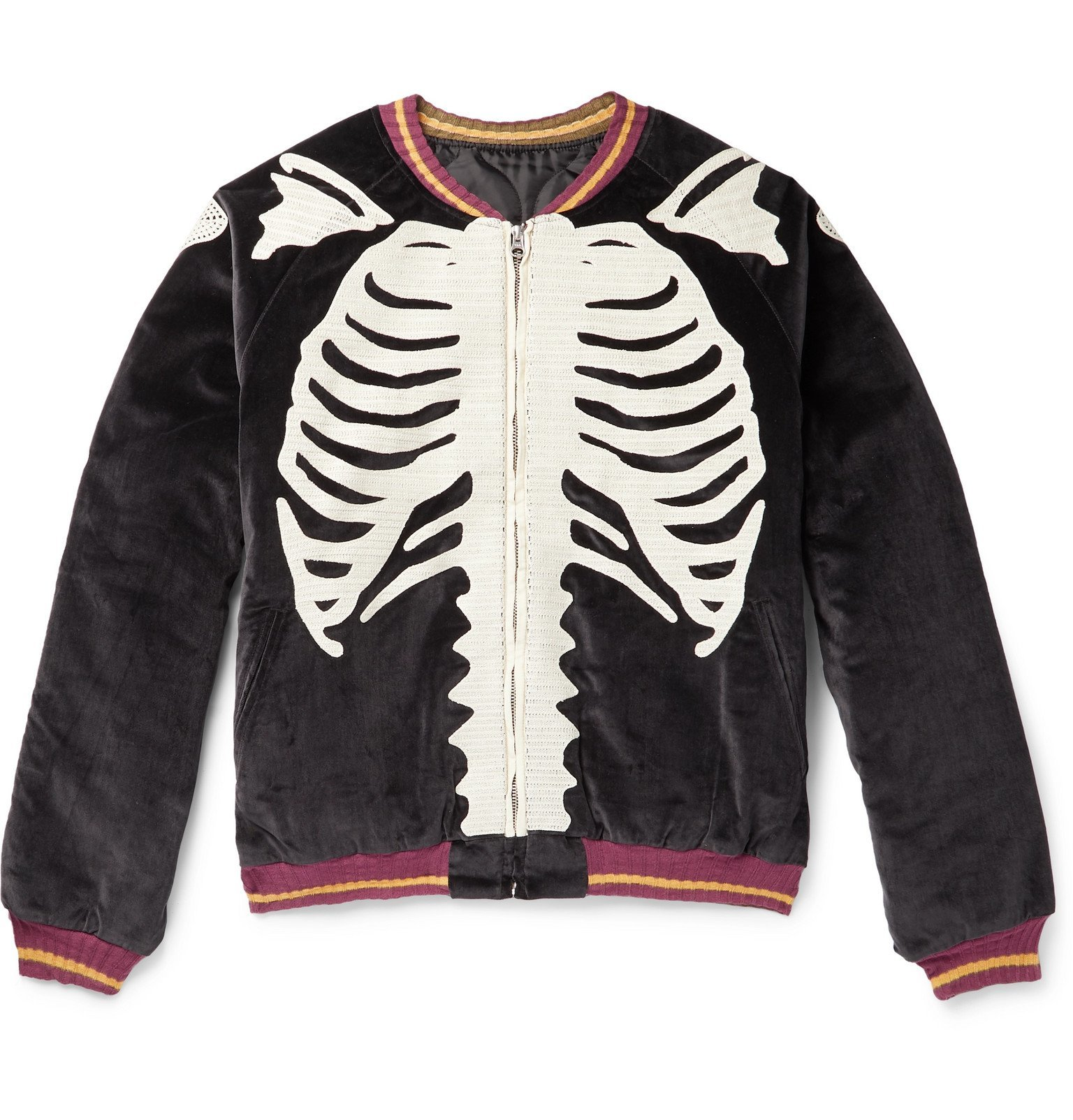 Photo: KAPITAL - Embroidered Padded Cotton-Velvet Bomber Jacket - Black