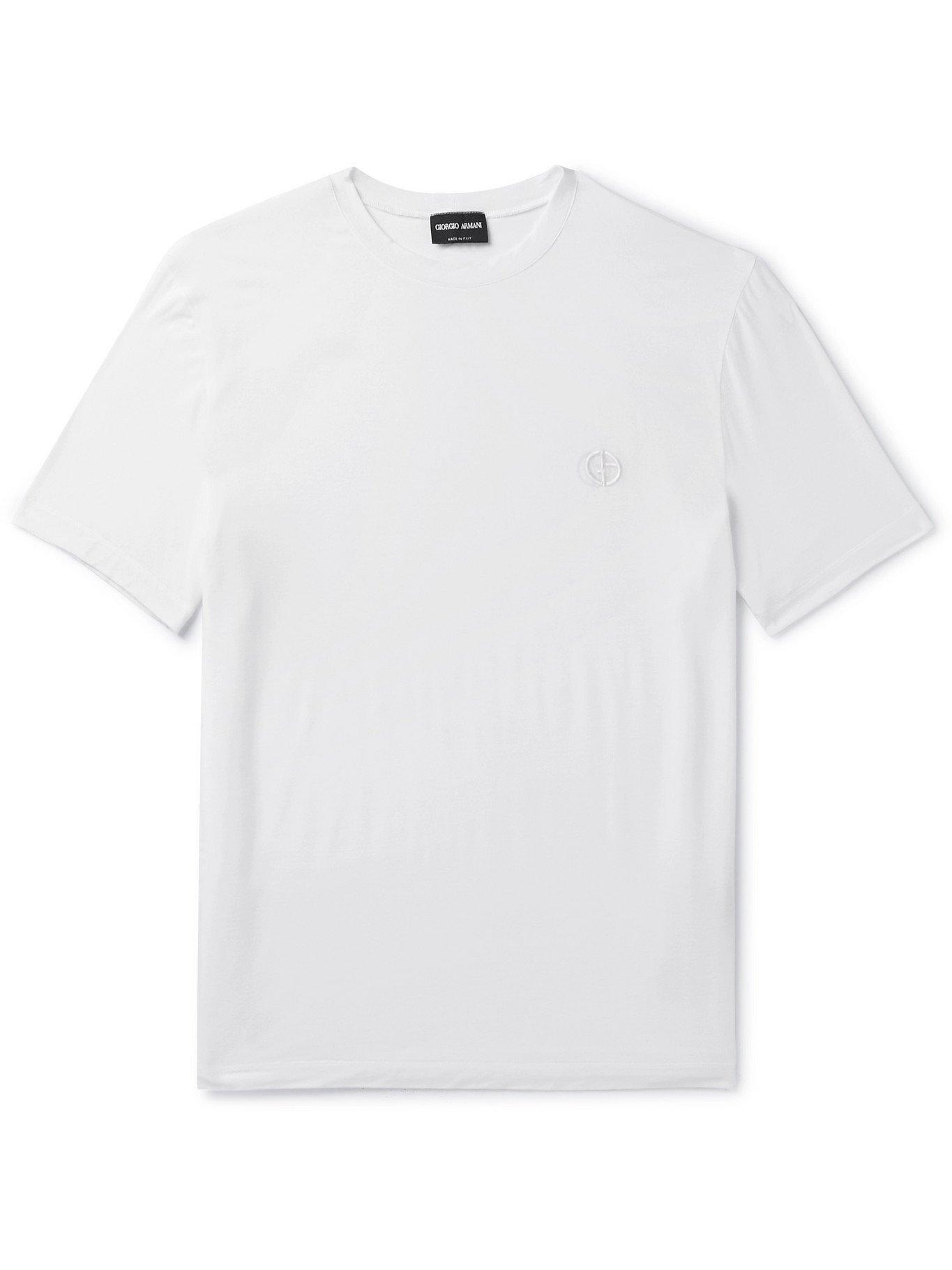 GIORGIO ARMANI - Slim-Fit Stretch-Jersey T-Shirt - White - IT 46