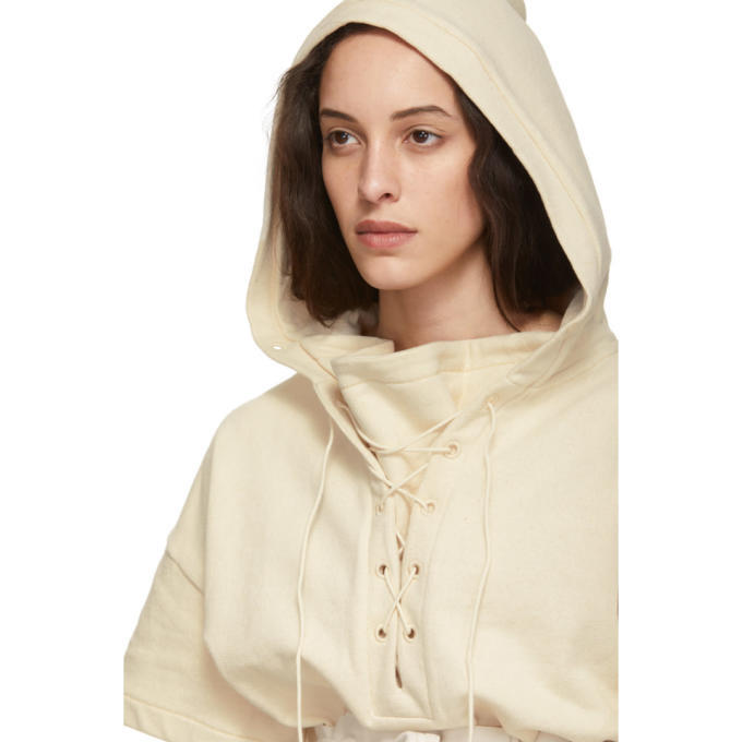 Lemaire Off-White Lace-Up Hoodie