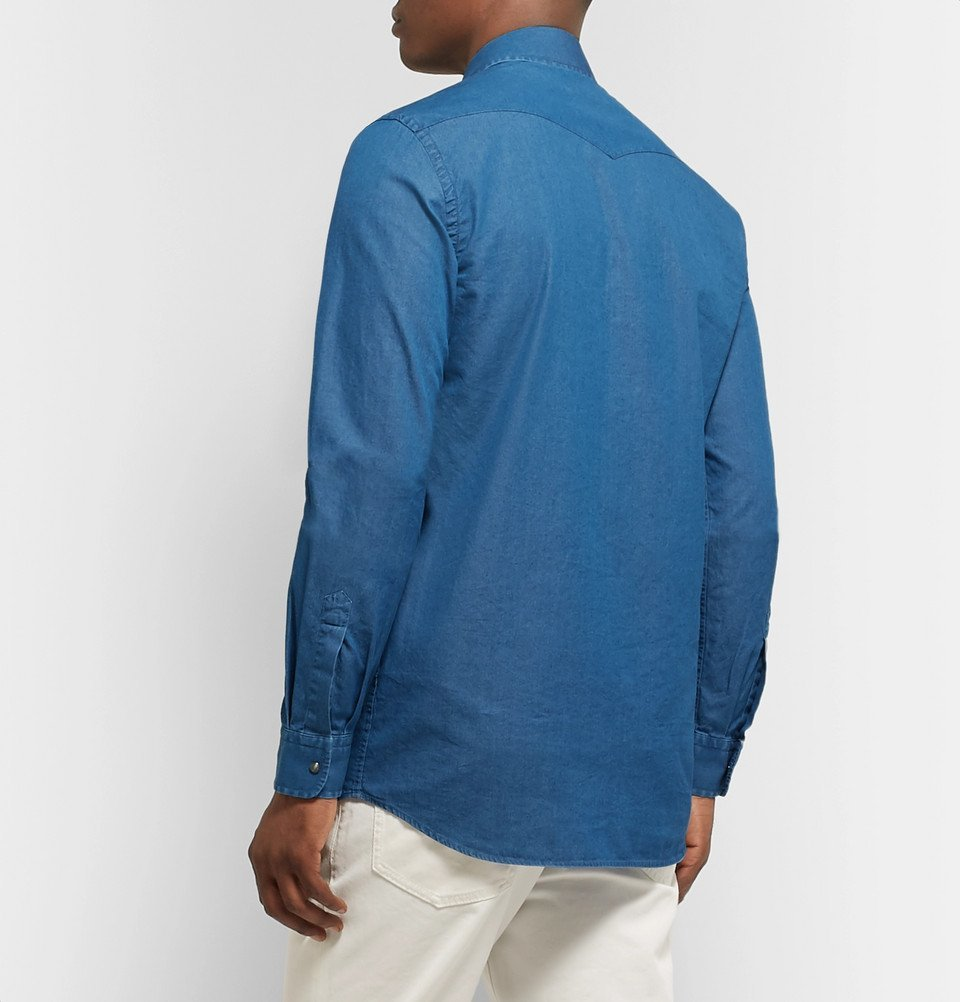 Tod's - Slim-Fit Garment-Dyed Cotton-Chambray Shirt - Blue