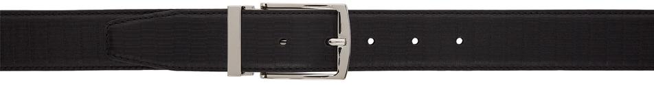 Giorgio Armani Black Leather Textured Belt