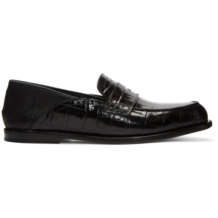 Photo: Loewe Black Croc Convertible Loafers