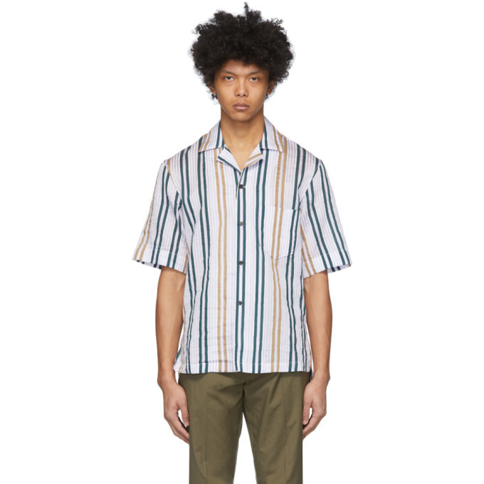 Photo: Acne Studios White and Yellow Striped Short Sleeve Shirt