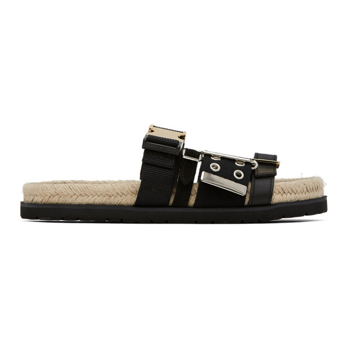 Sacai Black Jute Belted Sandals