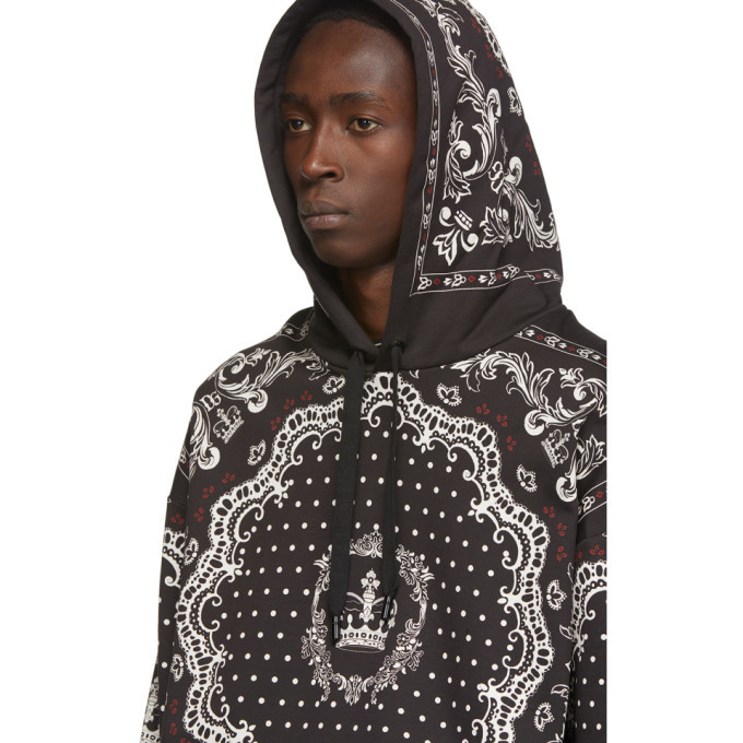 Dolce and Gabbana Black and White Bandana Hoodie